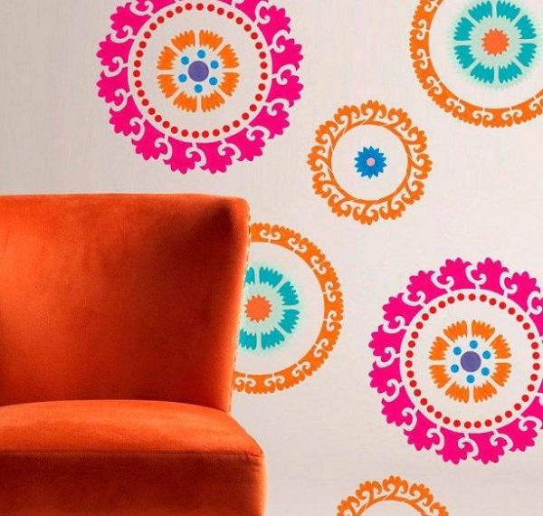 многоцветные трафареты для декора