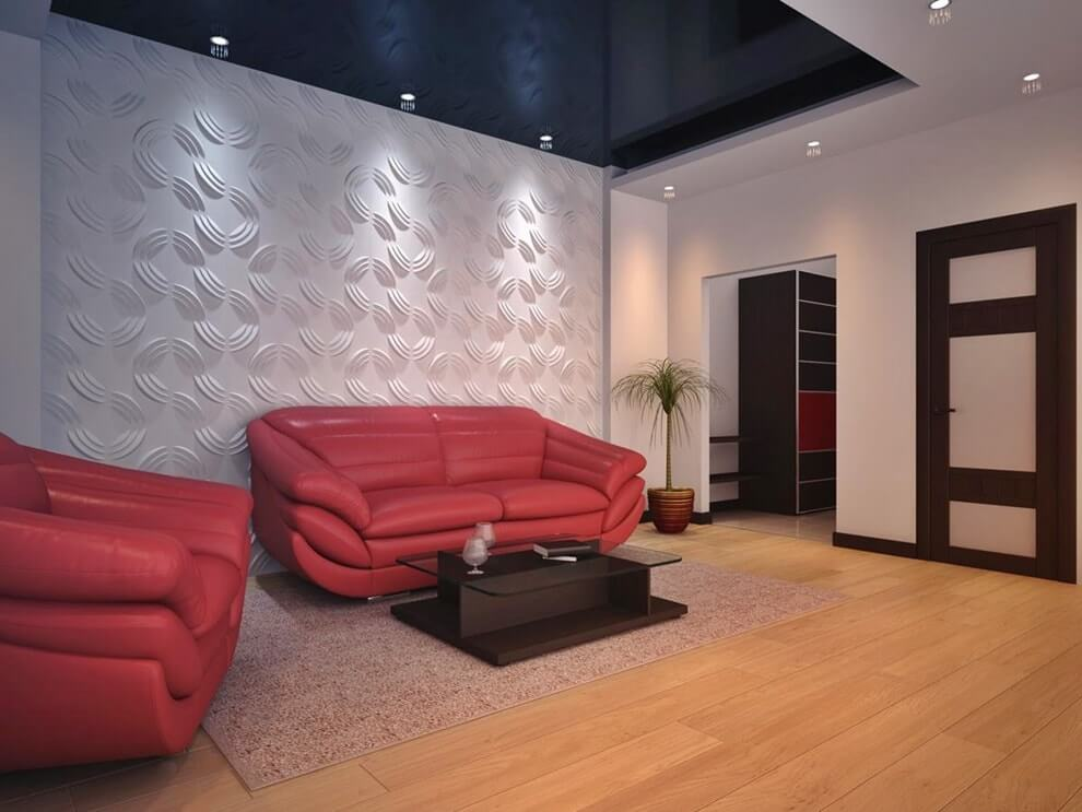 3D панели в декоре гостиной. Фото 5