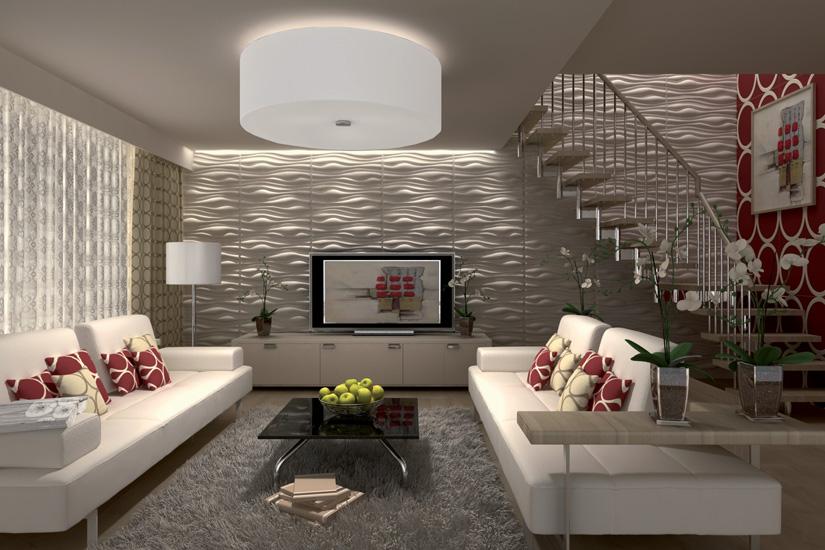 Гипсовые панели в декоре гостиной