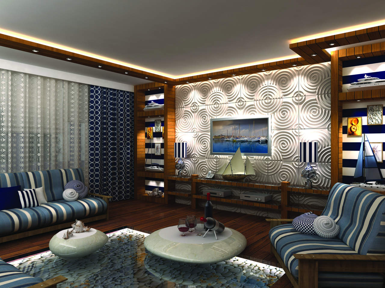 3D панели в декоре гостиной. Фото 21